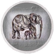 Mom Elephant Round Beach Towel