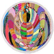 Mom Hugs Baby Crystal Stone Collage Layered In Small And Medium Sizes Variety Of Shades And Tones Fr Round Beach Towel