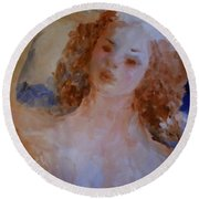 Round Beach Towel featuring the painting Mom Near Jupiter by Laurie L