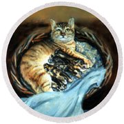 Round Beach Towel featuring the painting Mom With Her Kittens by Donna Tucker
