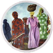 Round Beach Towel featuring the painting Mombasa Market by Sher Nasser