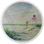 Mommy And Me At The Beach Round Beach Towel