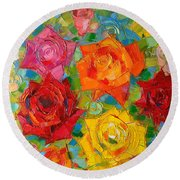 Mon Amour La Rose Round Beach Towel