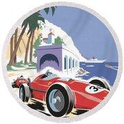 Monaco Grand Prix 1958 Round Beach Towel