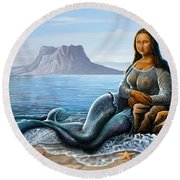 Monalisa Mermaid Round Beach Towel by Anthony Mwangi