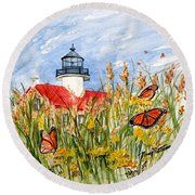 Monarch Butterflies At East Point Light Round Beach Towel