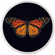 Monarch Butterfly Bedazzled Round Beach Towel