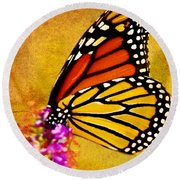 Monarch Butterfly Color Splash Sunset Round Beach Towel