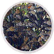 Monarch Mosaic Round Beach Towel