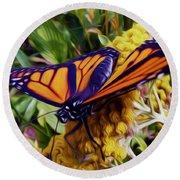 Monarch On Yarrow Round Beach Towel