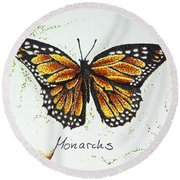 Monarchs - Butterfly Round Beach Towel by Katharina Filus