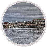 Monastery From The River Round Beach Towel