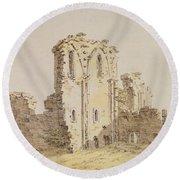 Monastery Ruins Round Beach Towel