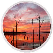 Monday Morning Round Beach Towel by Roger Becker