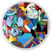 Round Beach Towel featuring the painting Monday Night Football by Anthony Falbo