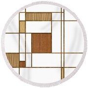 Mondrian In Wood Round Beach Towel