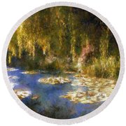 Monet After Midnight Round Beach Towel by RC deWinter