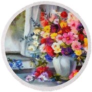 Monet Floral Edged Round Beach Towel