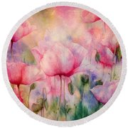 Monet's Poppies Vintage Warmth Round Beach Towel