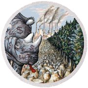 Money Against Nature - Cartoon Art Round Beach Towel by Art America Online Gallery