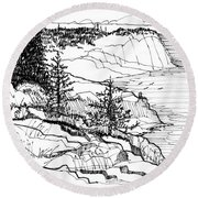 Monhegan Cliffs 1987 Round Beach Towel