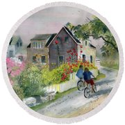 Monhegan In August Round Beach Towel by Melly Terpening