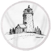 Monhegan Lighthouse 1987 Round Beach Towel