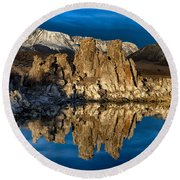 Mono Lake In March Round Beach Towel
