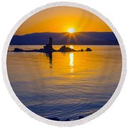 Mono Lake Sunrise Round Beach Towel