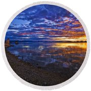 Mono Lake Sunrise Round Beach Towel by Priscilla Burgers