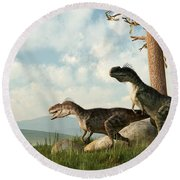 Monolophosaurs On The Hunt Round Beach Towel