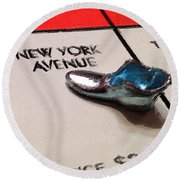 Monopoly Board Custom Painting New York Avenue Round Beach Towel