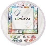 Monopoly Game Board Vintage Patent Art - Sharon Cummings Round Beach Towel