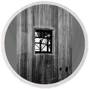 Round Beach Towel featuring the photograph Monroe Co. Michigan Barn Window by Daniel Thompson