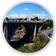 Monroe Street Bridge - Spokane Round Beach Towel