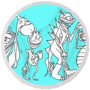 Monster Queue Blue Round Beach Towel