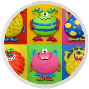 Monsters Round Beach Towel