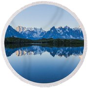 Mont Blanc Massif Panorama Round Beach Towel by Mircea Costina Photography
