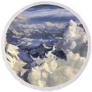 Round Beach Towel featuring the painting Mont Blanc by Muhie Kanawati