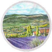Montagne De Lure In Provence France Round Beach Towel by Carol Wisniewski