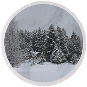 Montana Morning Round Beach Towel by Diane Bohna