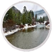 Montana Winter Round Beach Towel
