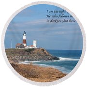 Montauk Lighthouse/camp Hero/inspirational Round Beach Towel