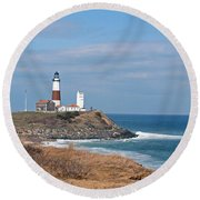 Round Beach Towel featuring the photograph Montauk Lighthouse/camp Hero by Karen Silvestri
