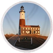 Montauk Lighthouse Entrance Round Beach Towel