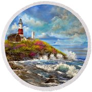 Montauk Lighthouse Round Beach Towel