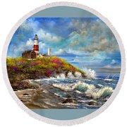 Montauk Lighthouse Round Beach Towel