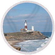 Round Beach Towel featuring the photograph Montauk Lighthouse View From Camp Hero by Karen Silvestri