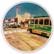 Monterey And Cable Car Bus Round Beach Towel