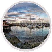 Monterey Marina California Round Beach Towel